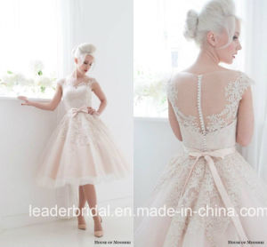 Short Wedding Dress Pink Tulle Lace Knee Length Bridal Gown Wd155 pictures & photos