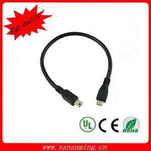 2ft 60cm Micro USB Type B Male to Mini USB Type B Male Host OTG Adapter Cable pictures & photos
