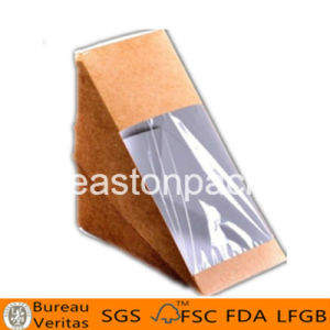 Eco Friendly Disposable Triangle Smaller Sandwich Packaging Box with Window pictures & photos