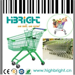 Asian Style Supermarket Metal Wire Shopping Trolley pictures & photos