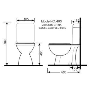 483 Australian Standard Sanitary Ware Watermark Dual Flush Washdown Two Piece Ceramic Toilet pictures & photos