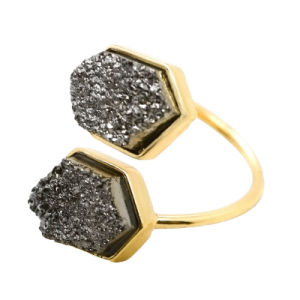 White Crack Black Open Adjustable Natural Stone Rings pictures & photos