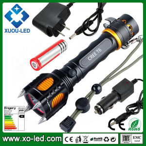 1200lm CREE T6 Five Mode LED Torch Light 1PC 18650 Li-Battery Powered Rechargeable Flashlight with Alarm Self-Defense Flashlight Torch