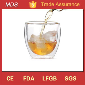 Glass Material Drinkware Egg Shaped Double Glass Cup for Tea pictures & photos