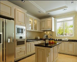 Mediterranean Style Solid Wood Modern Kitchen Cabinets pictures & photos