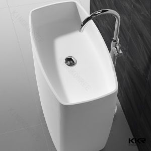 China Manufacturer Bathroom Furniture White Solid Surface Pedestal Wash Basin pictures & photos