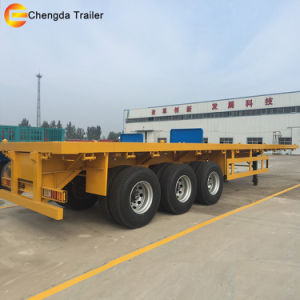 40 Feet Hight Quality 3 Axles Container Flatbed Semi Trailer pictures & photos