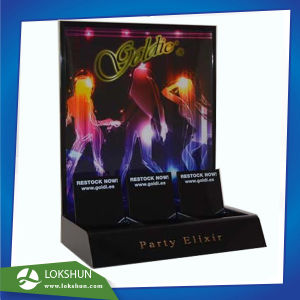 Professional Transparent L-Shape Acrylic Display Stand with LED Lights Build-in, High Quality OEM Acrylic Counter Display Supplier China pictures & photos