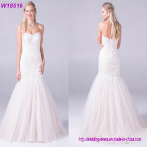 Hot Sale Wedding Dresses 2017 New Arrival High Summer Strapless Lace up Shining Bridal Gown pictures & photos