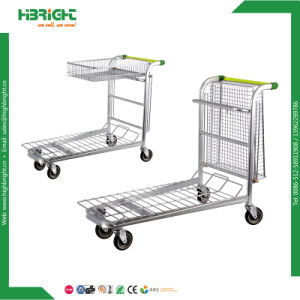 Metal Nestable Folding Warehouse Logistic Trolley 2 Tiers pictures & photos