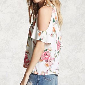 Ladies Fashion Flower Printed Chiffon V-Neck off Shoulder Blouse pictures & photos