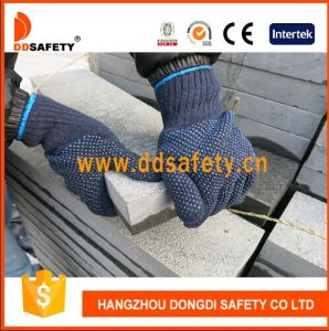 Ddsafety 2017 Blue PVC Dotted Safety Cotton Gloves pictures & photos