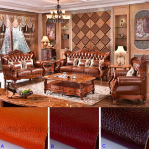 Leather Sofa with Wood Table Cabinet for Living Room Furniture pictures & photos