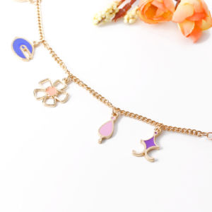 Alloy Charm Bracelet, 5 Multi-Color Enamel Charms: Star/Heart/Flower Pendant pictures & photos