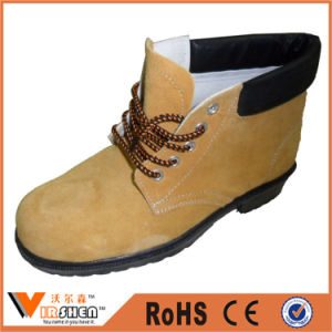 Yellow Nubuck Cow Leather Industrial Workman Safety Shoes pictures & photos