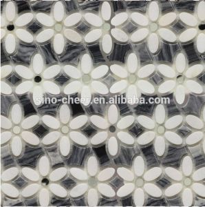 Hot Sale White Mixed Black Flower Shaped Water Jet Mosaic Floor Tile pictures & photos