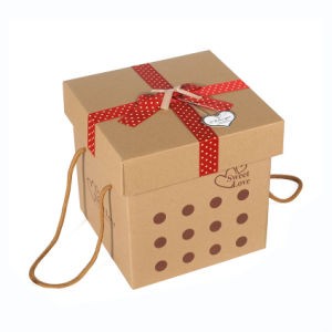Brown Custom Gift Paper Packaging Box with Handle Rope pictures & photos