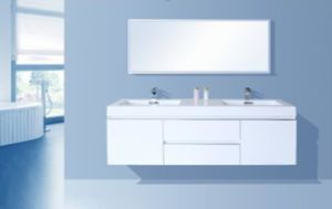 Resin Basin (two sinks) MDF + PVC Bathroom Cabinet pictures & photos