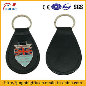 Custom Metal Leather Keychain with National Flag Metal Plate pictures & photos