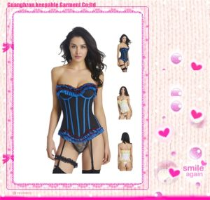 Sexy Lace Bustier Corset Lingerie Girdle Set with Garter Belt pictures & photos