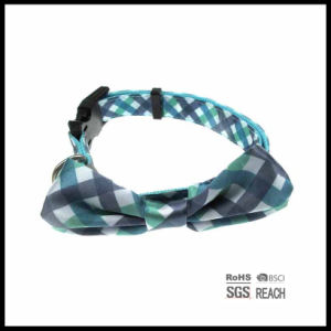 Customised Grid Pet Dog Cat Collar with Bow Tie Pet Supply pictures & photos