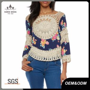 Ladies Boho Printed Handmade Crochet Blouse pictures & photos