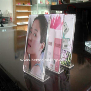 Triangle Rotatable Acrylic Menu Stand Plexiglass Brochure Holder (BTR-H6048) pictures & photos