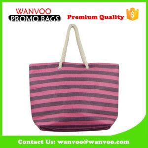 OEM/ODM Logo Pink Stripe Cotton Lady Handbag for Shopping pictures & photos