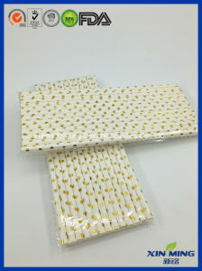 Party Supply, White with Gold DOT Paper Straw pictures & photos