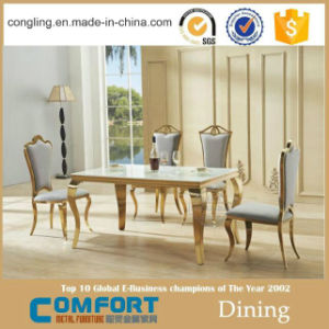 Pics of Mirror Golden Anqitue Marble Dining Table Chair pictures & photos