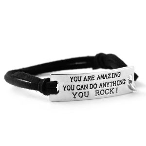 Motivational Leather Bracelet - Inspiration Engraved Logo Message Words Charm Leather Bracelet pictures & photos