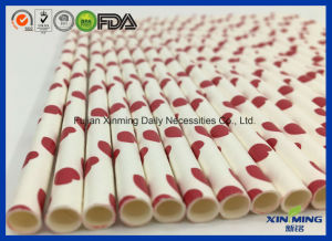 Birthday Part Supply White with Red Hearted Paper Straw pictures & photos