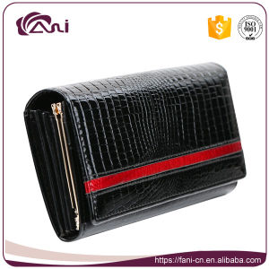 Genuine Leather Women Wallet, High Quality Black Long Crocodile Skin Lady Wallet pictures & photos