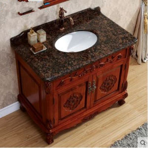 Solid Wood Bathroom Cabinet on Floor Marble Basin Classic pictures & photos