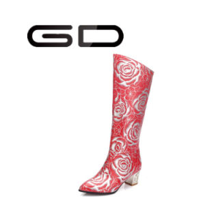 Fashion Women High Heel Slip on Red Knee High Boots pictures & photos