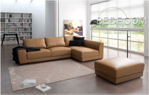 Foshan Cheap Leather L Shape Sofa with Footrest (FS-035) pictures & photos