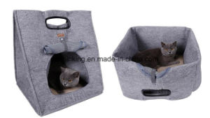 Grey and Brown Felt Pet Handbag and Kennel for Puppy Dog and Cat pictures & photos