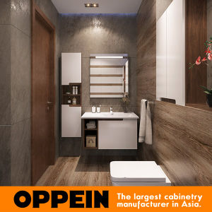 Modern White Lacquer Wall-Mounted Bathroom Cabinets with Mirror (BC17-L02) pictures & photos