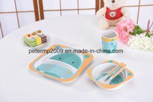 Plastic Kids Feeding Plate Set Bamboo Fiber Dinnerware pictures & photos