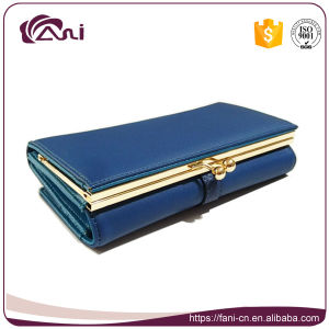 Blue Long PU Leather Women Metal Frame Wallet Purse pictures & photos