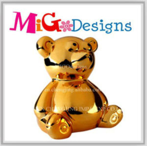Large Gold Art Ceramic Cute Bear Money Box for Children pictures & photos