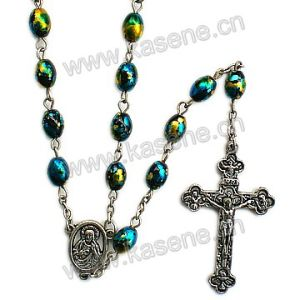 Hot Sell 6*8mm Colourful Oval Glass Faux Pearl Bead Rosario, Cute Rosary Necklace pictures & photos