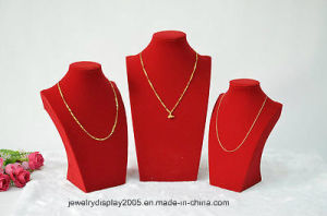 3PCS New Red Velvet Gold Jewelry Display Necklace Stand Holder Bust pictures & photos