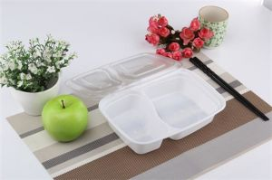 Disposable Lunch Box Thicker Rectangular 2 Compartment Fast Food Container with Plastic Lid pictures & photos