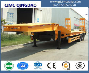 Cimc Tri-Axle Middle Concave Low Bed Semi-Trailer Truck Chassis pictures & photos