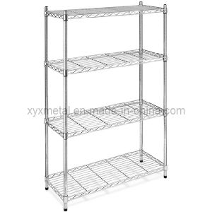4 Tiers Chrome Shelving Stand Wire Mesh Shelf Rack pictures & photos