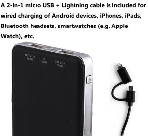 Dual USB Output 5V DC/1A and 5V DC/2.1A, Real Apacity 10000mAh Power Bank for Mobile Phone pictures & photos