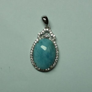 Natural Larimar Sterling Silver Jewellery in Pendant (P0340)