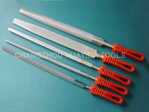 Red Plastic Handle Diamond Big Files for Glass and Metal pictures & photos