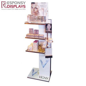 Floor Shopping Center Tiered Wood Skin Care Product Display Stand in Noble Graphic Designing pictures & photos